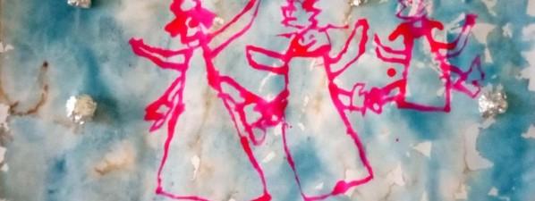 Obrázky namalovaly děti z oddělení Sluníček a Kuřátek
