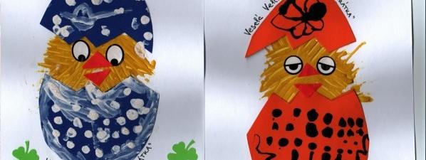 Velikonoční přáníčka vyrobily děti z oddělení Kuřátek