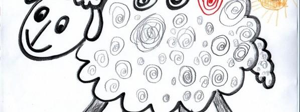 Ovečku nakreslily děti ze třídy Kuřátek